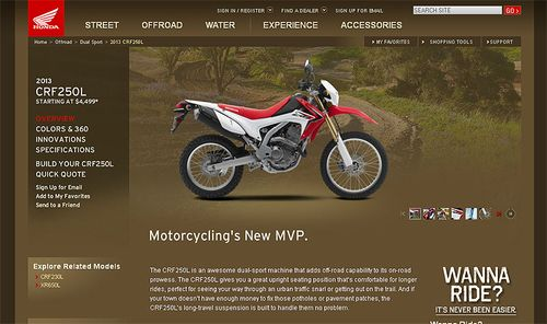 CRF250L On Honda Website